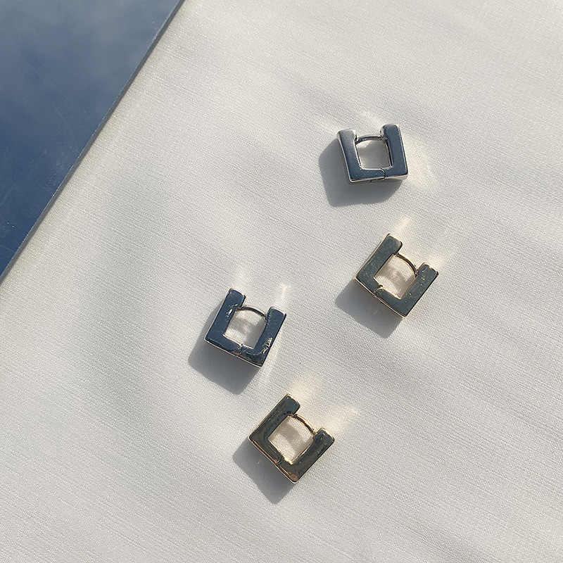 One-touch Square Earring(2colors)